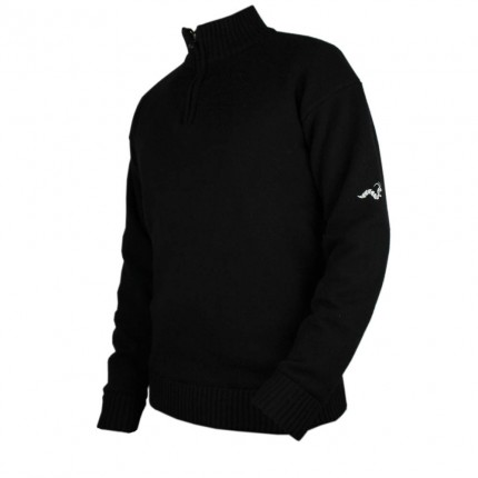 Woodworm Golf Lined Wool Half Zip Sweater - Black