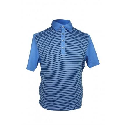 Ashworth Mens Striped Polo Shirt With Plain Sleeve