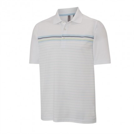Ashworth Mens Striped Mesh Polo White / Aqua
