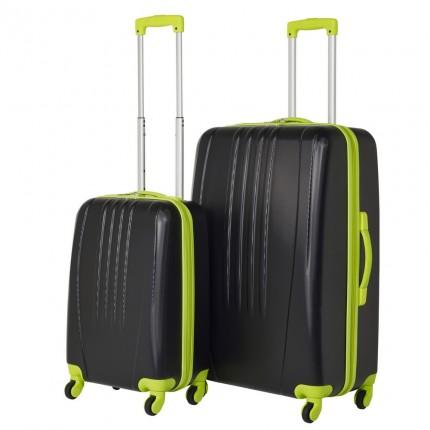 Swiss Case 4 Wheel Bold 2Pc Suitcase Set - Black / Neon