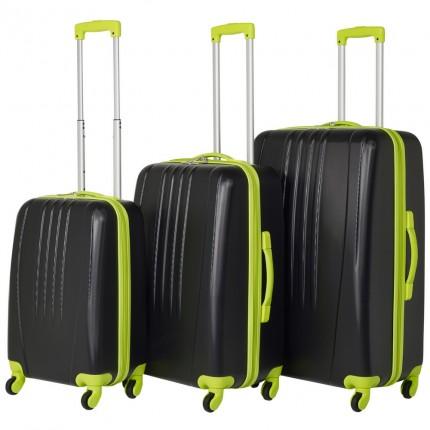 Swiss Case 4 Wheel Bold 3Pc Suitcase Set - Black / Neon