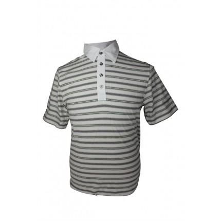 Ashworth Mens 3 Tone Striped Polo Shirt