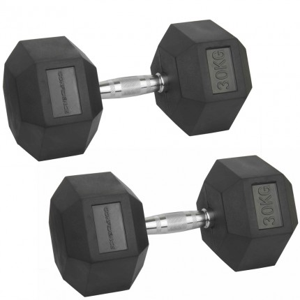 Confidence Fitness 30kg Rubber Hex Dumbbell Set