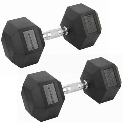 Confidence Fitness 22.5kg Rubber Hex Dumbbell Set