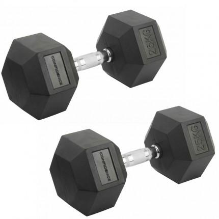 Confidence Fitness 25kg Rubber Hex Dumbbell Set