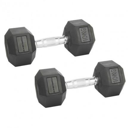 Confidence Fitness 10kg Rubber Hex Dumbbell Set