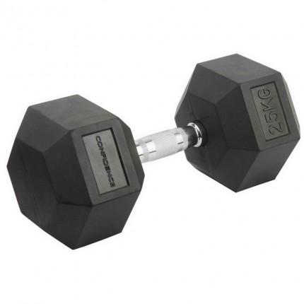 Confidence Fitness 25kg Rubber Hex Dumbbell