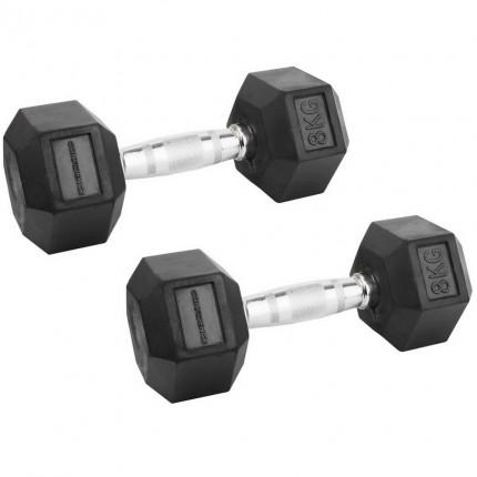 Confidence Fitness 8kg Rubber Hex Dumbbell Set