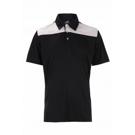 Woodworm Panel Golf Polo Shirts - Black