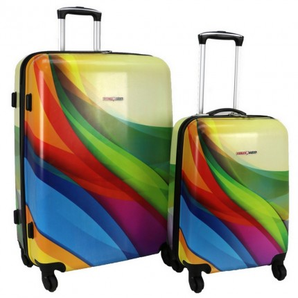 Swiss Case 4 Wheel 2Pc Hard Suitcase Set - Wave