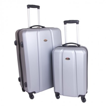 Swiss Case 4 Wheel ABS 2Pc Diamond Suitcase Set Silver