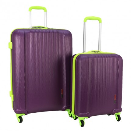 Swiss Case 4 Wheel EZ2C 2Pc Suitcase Set - Purple / Lime