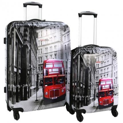 Swiss Case 4 Wheel 2Pc Hard Suitcase Set - London Bus