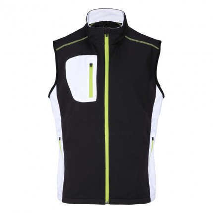 Woodworm Golf Full Zip Soft Shell Vest - Black / Neon