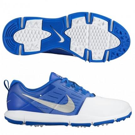 Nike Explorer Golf Shoes - White / Silver / Blue
