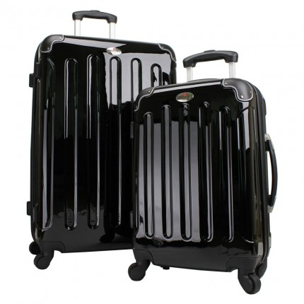 Swiss Case 4 Wheel 2Pc Hard Suitcase Set Black