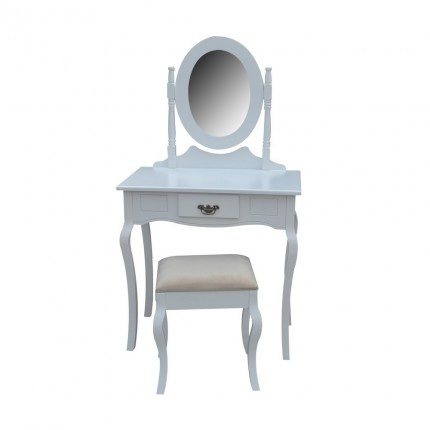 Homegear Milan Dressing Table, Mirror & Stool Set