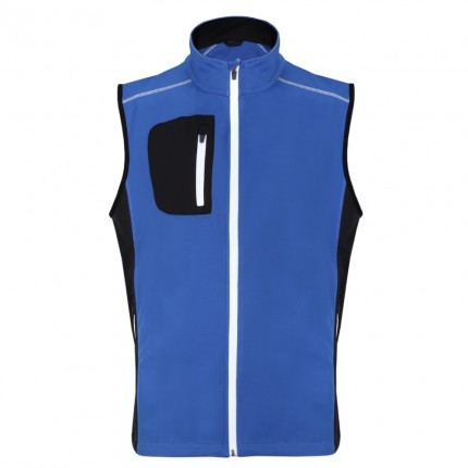 Woodworm Golf Full Zip Soft Shell Vest - Blue / Black