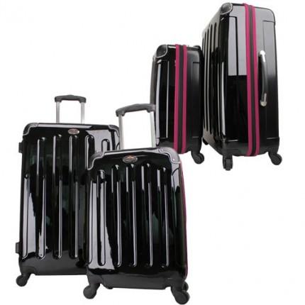 Swiss Case 4 Wheel EZ2C 2Pc Suitcase Set Black / Pink