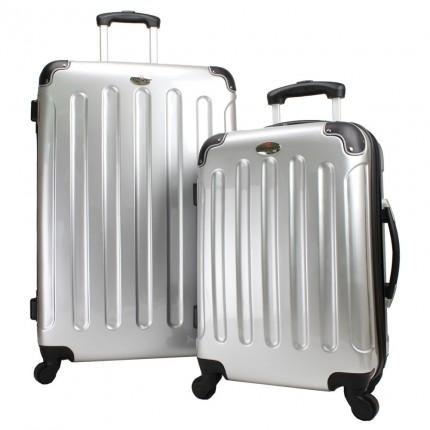 Swiss Case 4 Wheel 2Pc Suitcase Set Silver