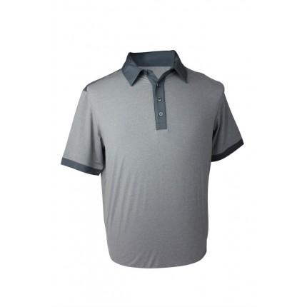 GREY - Adidas Mens AdiPure Heather Short Sleeve Polo