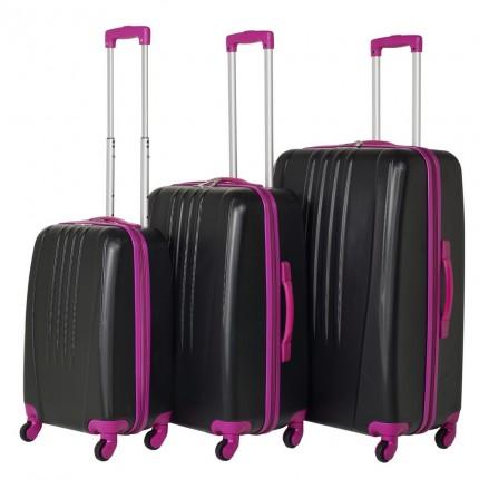 Swiss Case 4 Wheel Bold 3Pc Suitcase Set - Black / Pink