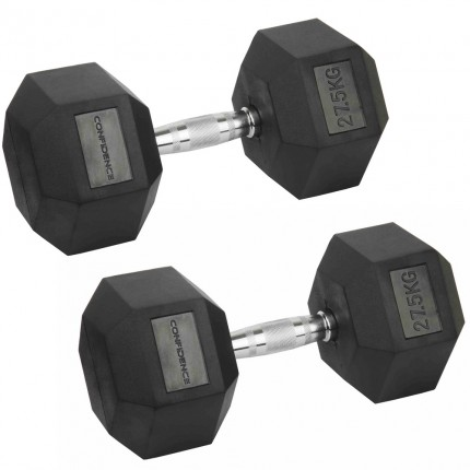 Confidence Fitness 27.5kg Rubber Hex Dumbbell Set