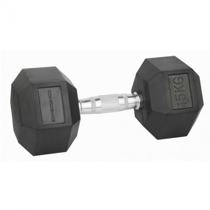 Confidence Fitness 15kg Rubber Hex Dumbbell