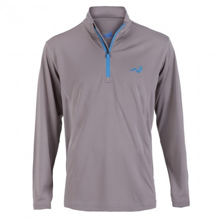 Woodworm 1/4 Zip Golf Pullover - Grey/Sky Blue