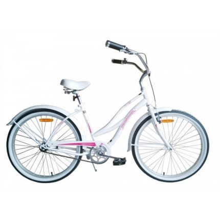 "Woodworm 18"" Ladies Cruiser Bike - White / Pink"