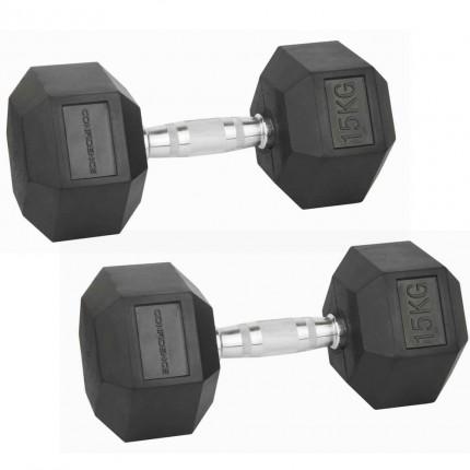 Confidence Fitness 15kg Rubber Hex Dumbbell Set