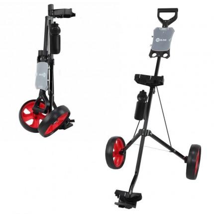 Ram Golf 2 Wheel Folding Steel Pull Cart / Trolley with Water Bottle, Scorecard Holder and Removable Wheels