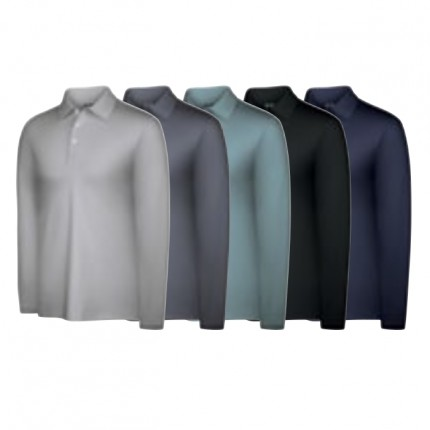 Adidas Mens Climalite Warm Long Sleeve Textured Polo