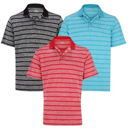 Woodworm Golf Heather Stripe Mens Polo Shirts 3 Pack