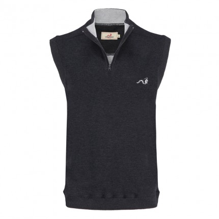 Woodworm Sleeveless Sweater Vest with Zip - Grey