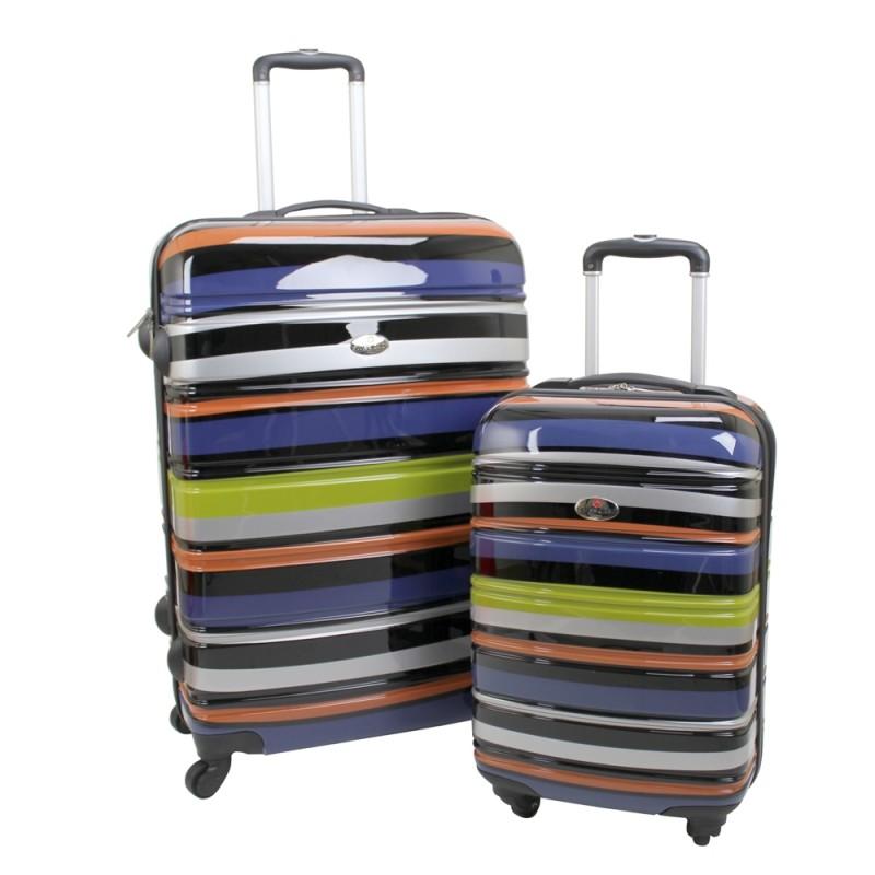 Swiss Case 4 Wheel 2Pc Hard Suitcases Technicolour