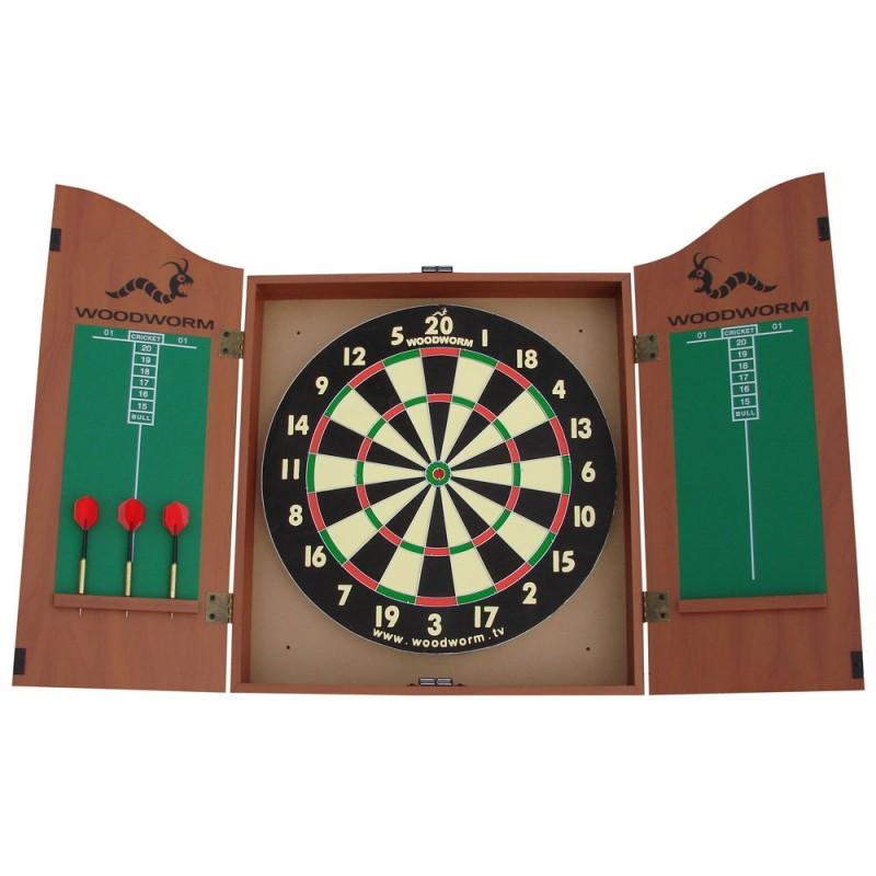 Woodworm Home Darts & Dartboard Set In Cabinet