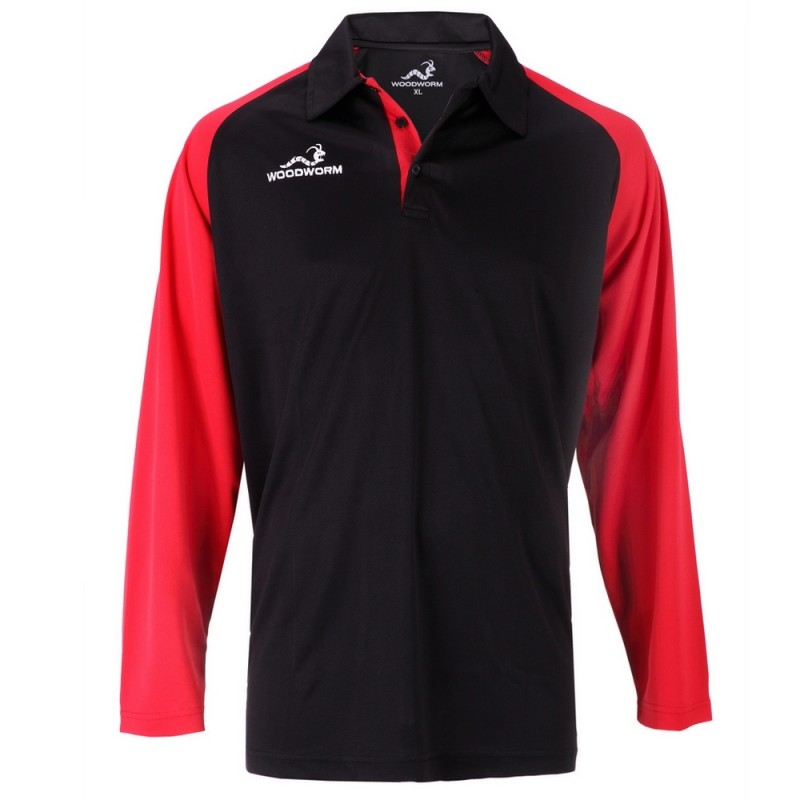 Woodworm Pro Cricket Long Sleeve Shirt Red