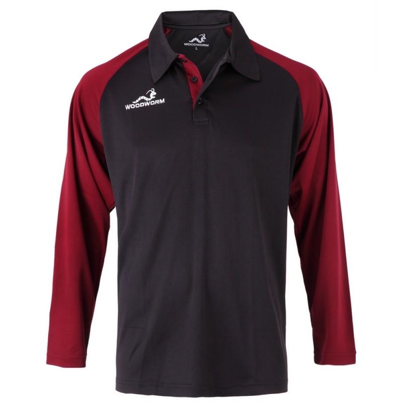 Woodworm Pro Cricket Long Sleeve Shirt Maroon