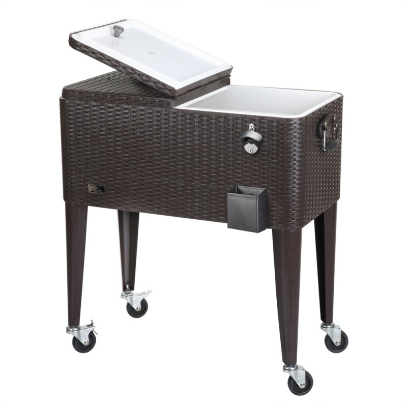 Palm Springs Deluxe Rattan Rolling Cooler