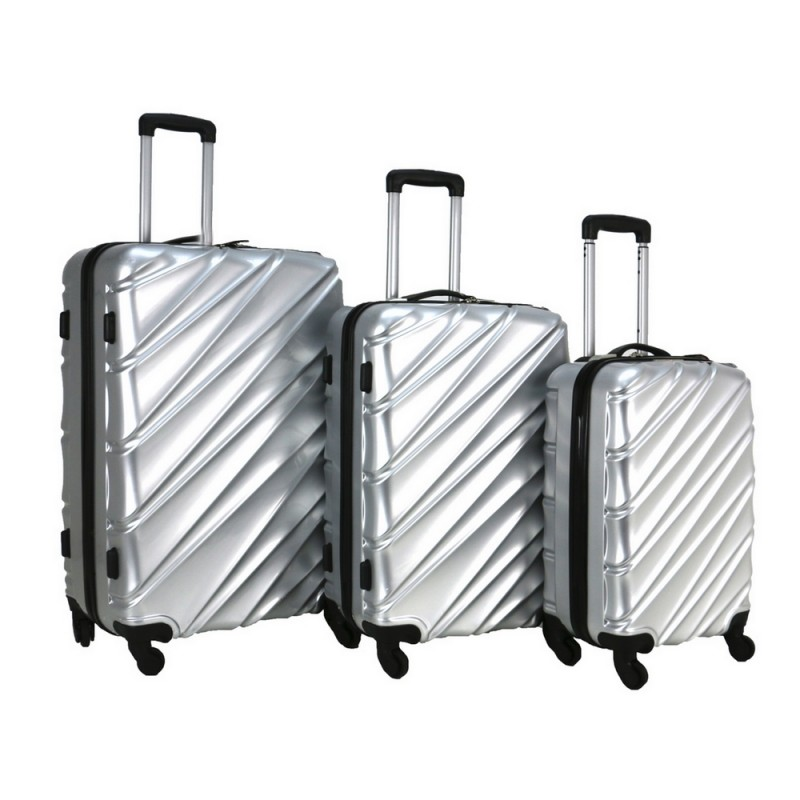Swiss Case 4 Wheel Wave 3Pc Suitcase Set - Silver