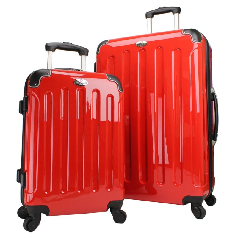 Swiss Case 4 Wheel Hard 2Pc Suitcase Set Red