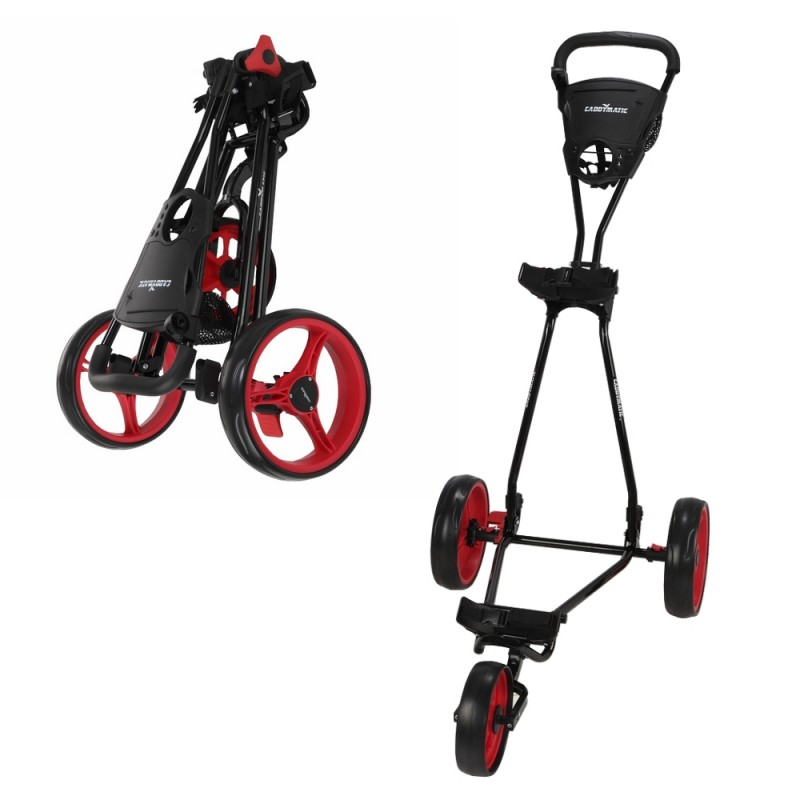 Caddymatic Golf Continental 3 Wheel Folding Golf Push/Pull Cart Black/Red