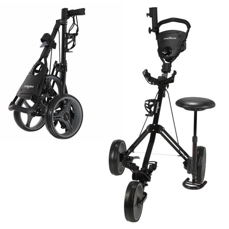 Caddymatic Golf X-TREME 3 Wheel Push/Pull Golf Tolley with Seat Black