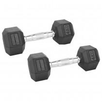 Confidence Fitness 4kg Rubber Hex Dumbbell Set