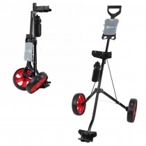 Ram Golf 2 Wheel Folding Steel Pull Cart / Trolley with Water Bottle, Scorecard Holder and Removable Wheels