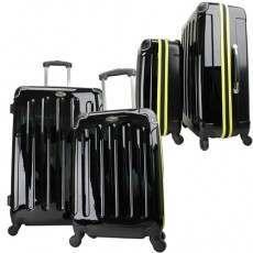 Swiss Case 4 Wheel EZ2C 2Pc Suitcase Set Black / Fluvo