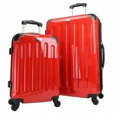 Swiss Case 4 Wheel Hard 2Pc Suitcase Set Red