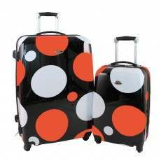 Swiss Case 4 Wheel 2Pc Hard Suitcases Red Disco
