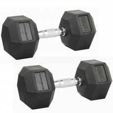 Confidence Fitness 17.5kg Rubber Hex Dumbbell Set